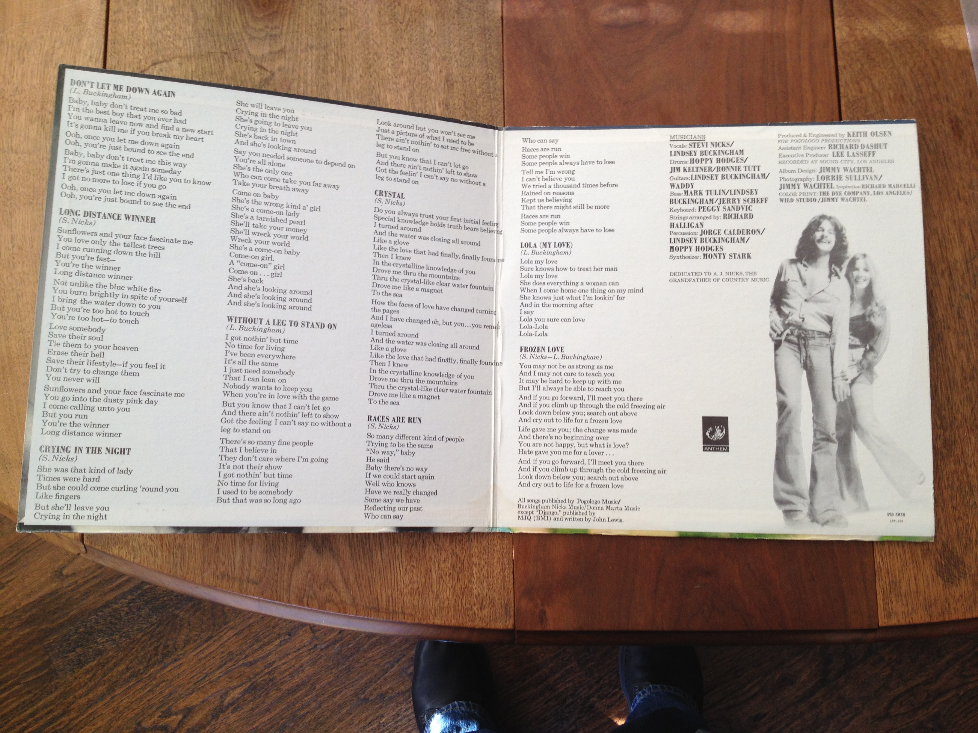 Gate-fold showing Lyrics and album credits for Buckingham Nicks