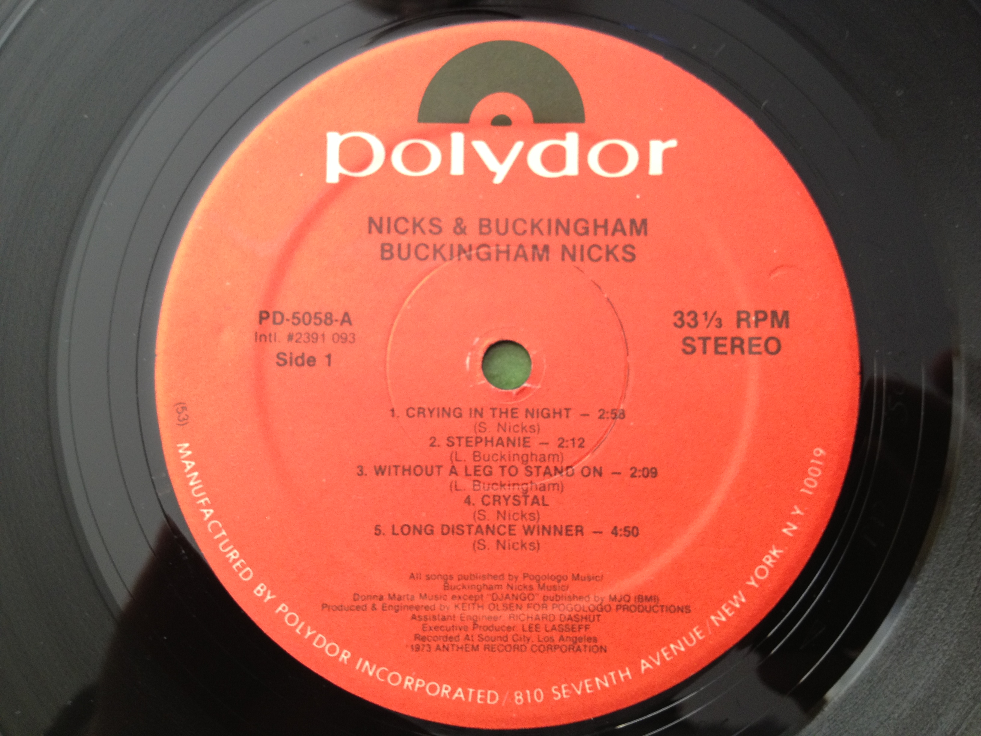 Label for side one of Buckingham Nicks